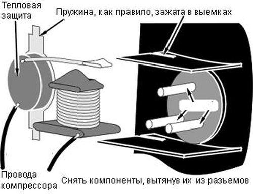Схема подключения компрессора холодильника своими руками