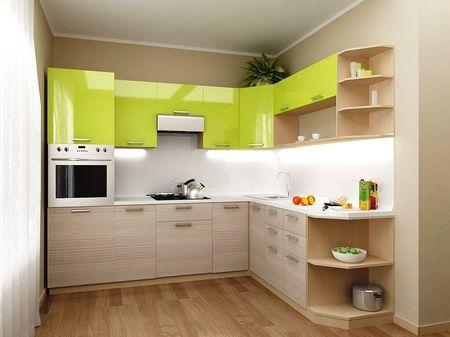угловая кухня с холодильником дизайн и схема малогабаритной хрущевки