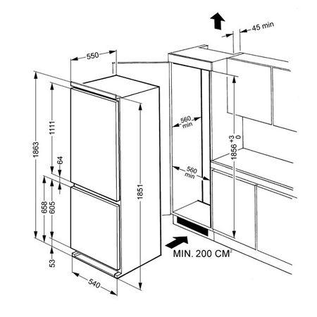 Схема монтажа встраиваемого холодильника с наружной шириной 60см