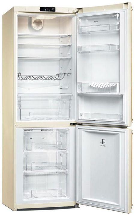 Кремовый холодильник шириной 60 см