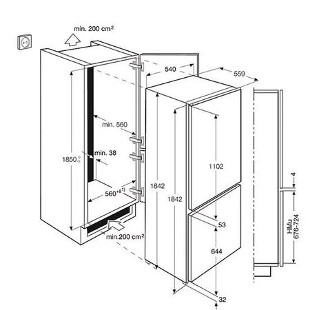 Размеры встраиваемого холодильника ELECTROLUX ENN 3153 AOW