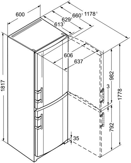 Размеры встраиваемого холодильника Liebherr CUPsl 3221
