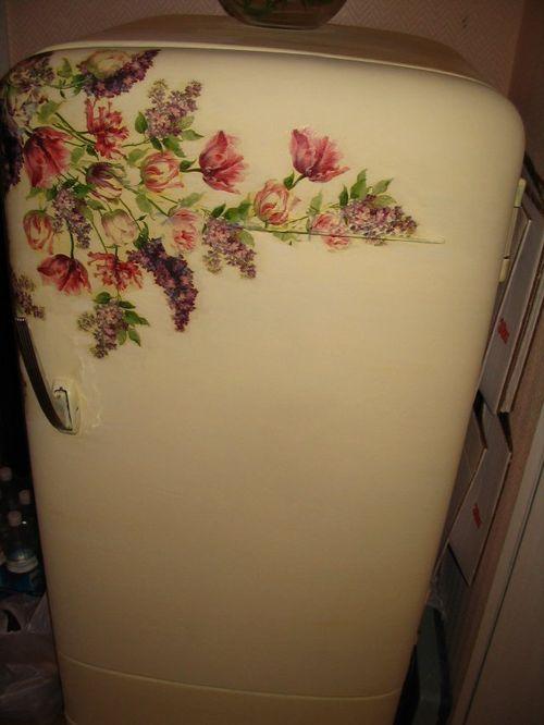 Холодильник с декупажем