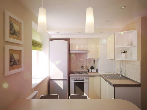 Идеи дизайна для кухни-хрущевки с газовой колонкой и холодильником