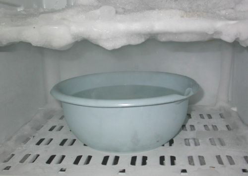 Миска с водой в холодильнике