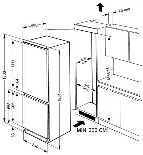 Уровневая установка холодильника